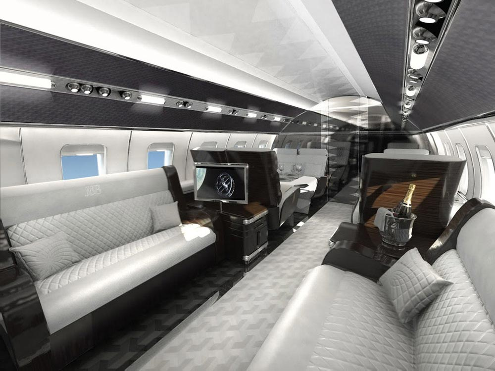 the most luxurious private jet interior designs mr goodlife. Black Bedroom Furniture Sets. Home Design Ideas