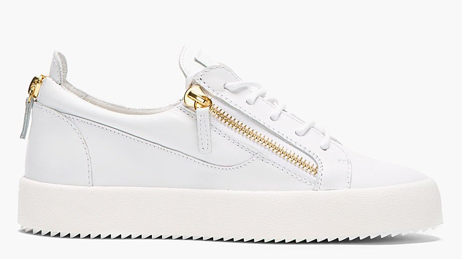 Leather Low Top Zipped Sneakers by Designer Giuseppe Zanotti 3