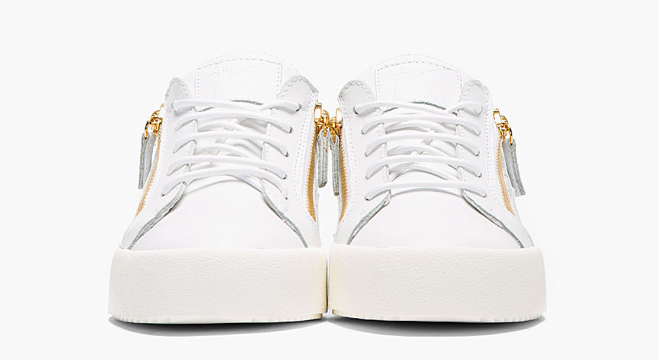 Leather Low Top Zipped Sneakers by Designer Giuseppe Zanotti 1