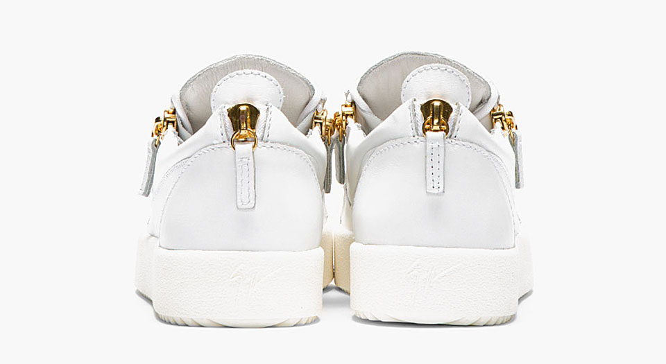 Leather Low Top Zipped Sneakers by Designer Giuseppe Zanotti 4