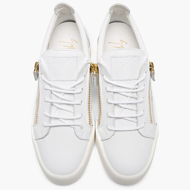 Leather Low Top Zipped Sneakers by Designer Giuseppe Zanotti 2
