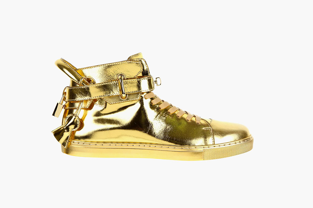 New 100mm High Top Gold Sneaker by Buscemi 1