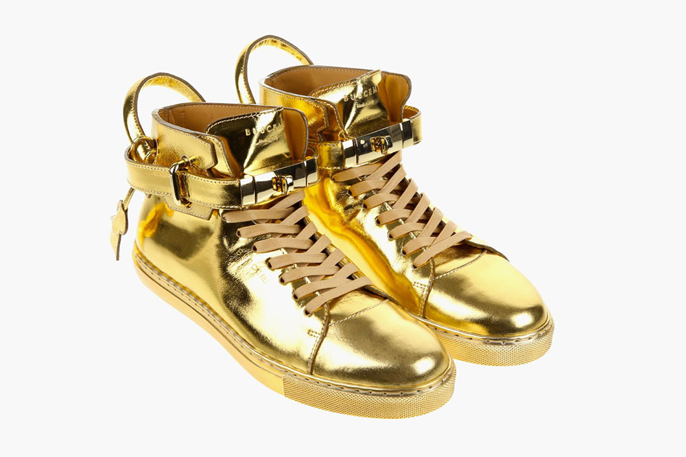 New 100mm High Top Gold Sneaker by Buscemi 2