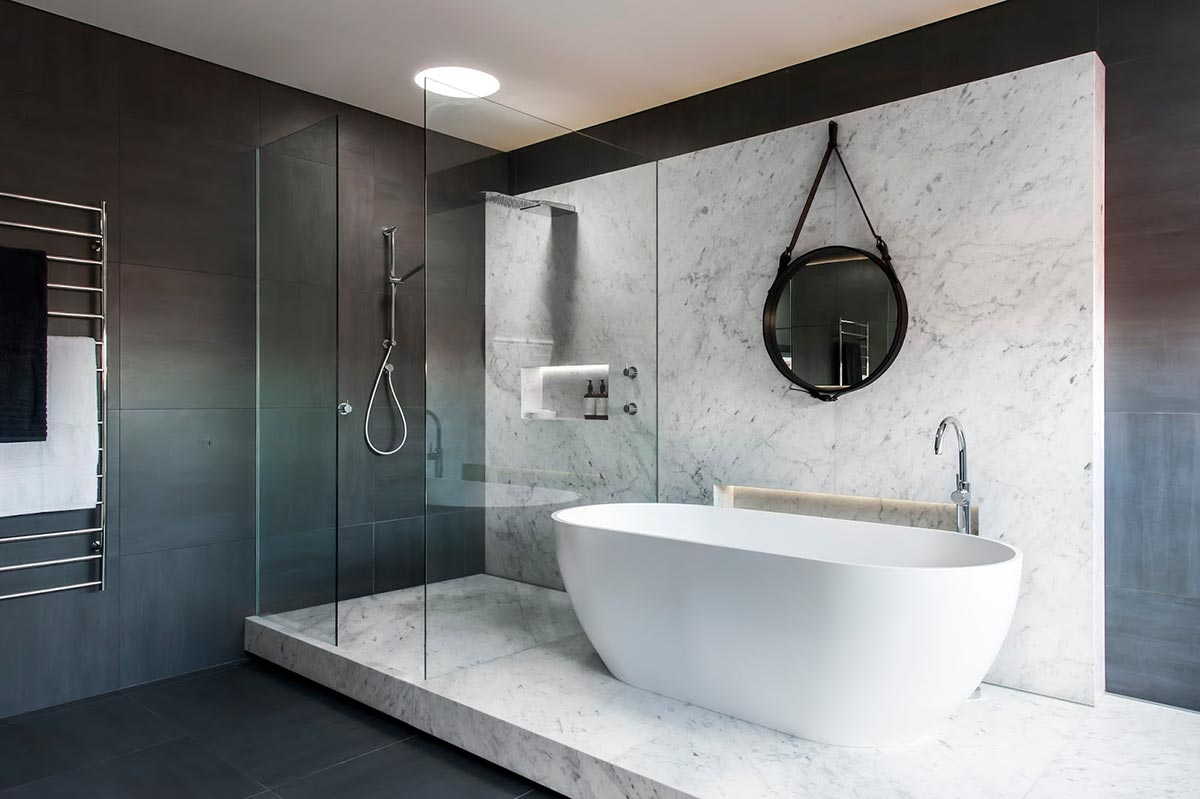 Award-winning monochromatic Bathroom by Minosa Design 3