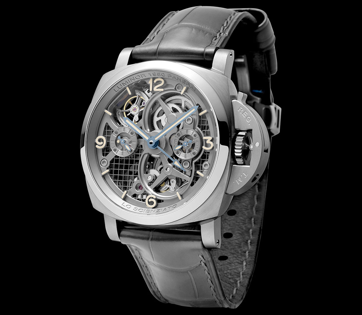 Lo Scienziato – The Luminor 1950 Tourbillon GMT Titanio 3