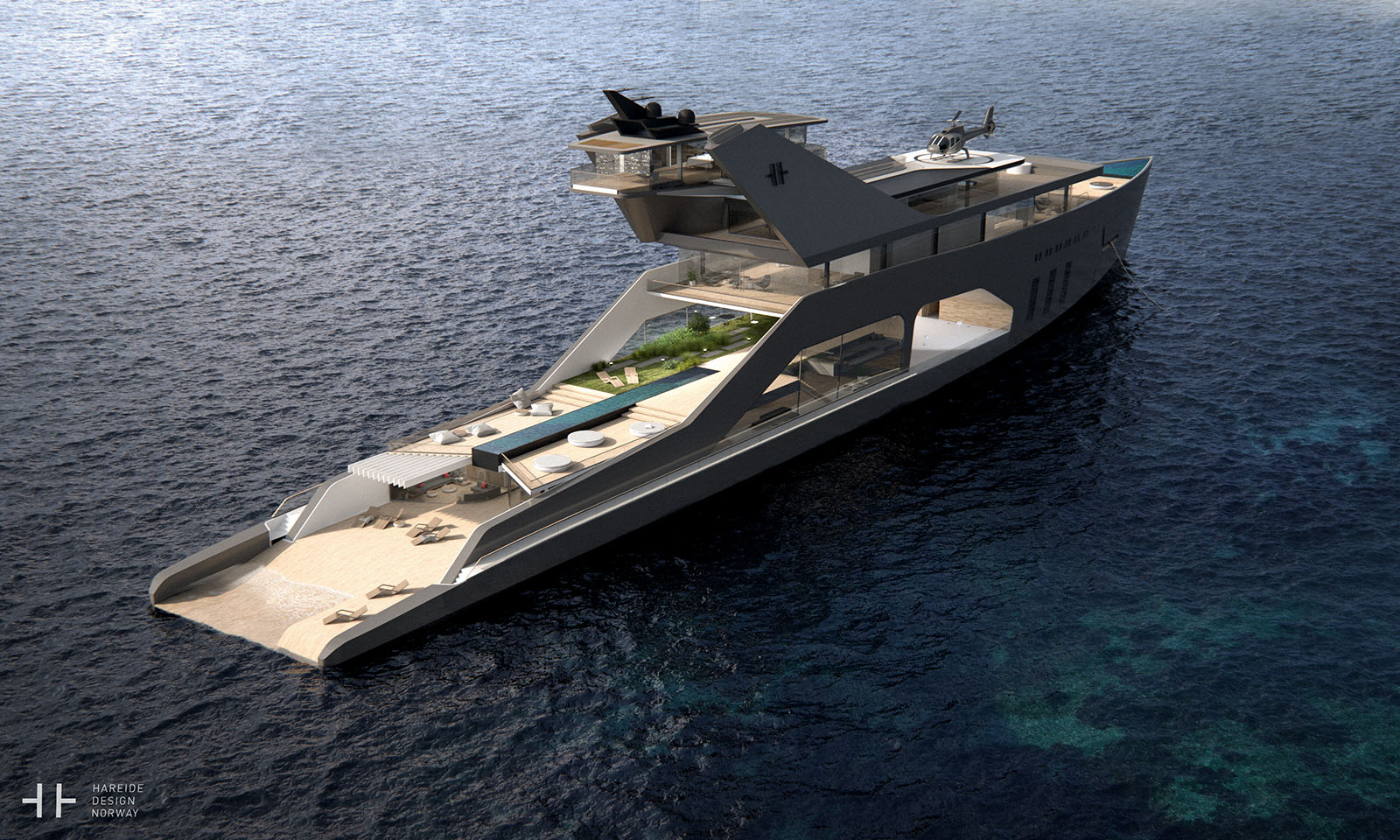 The 108M Luxury Yacht Concept With It's Own Private Beach 2