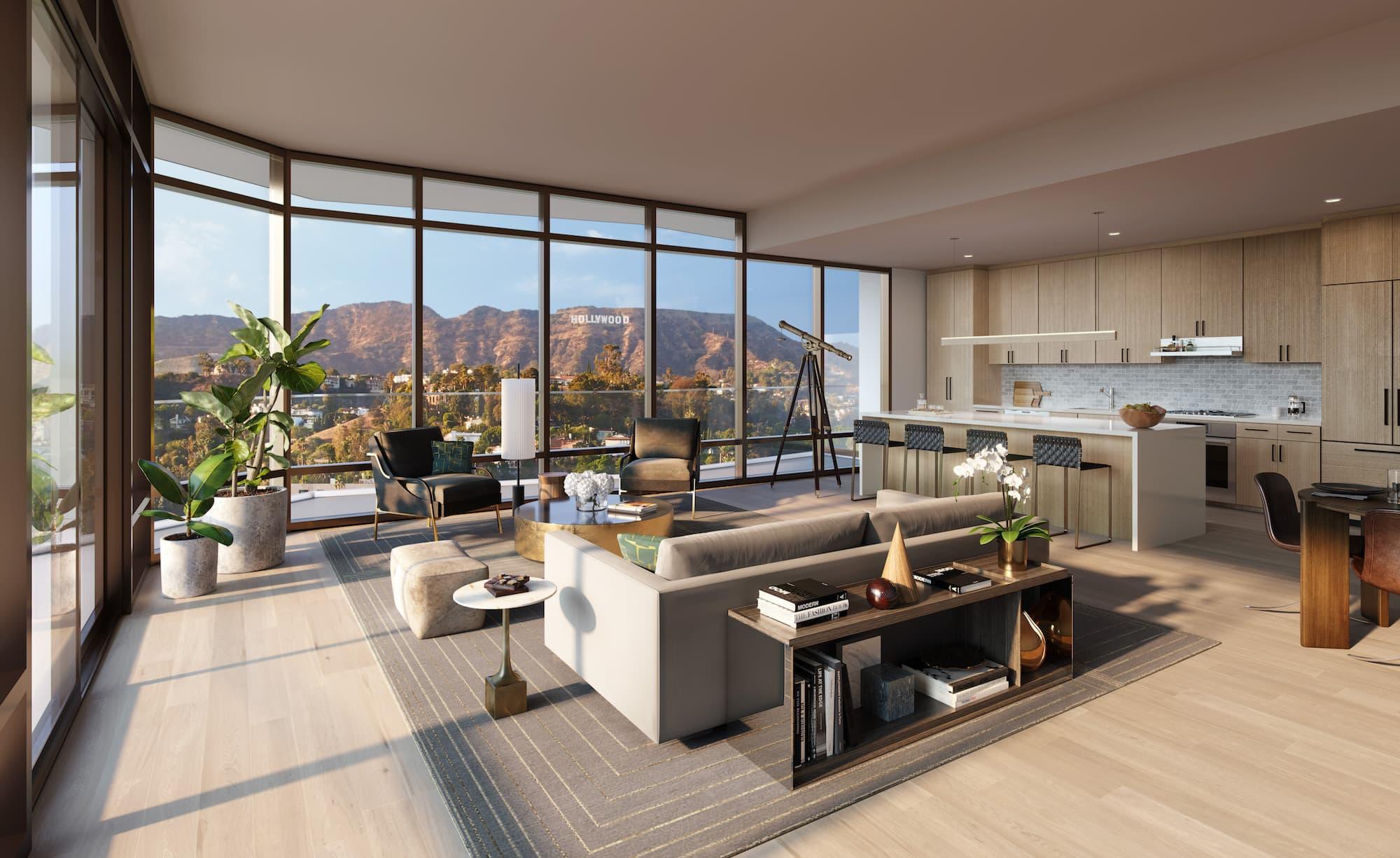 Argyle House view of Hollywood Sign from living room
