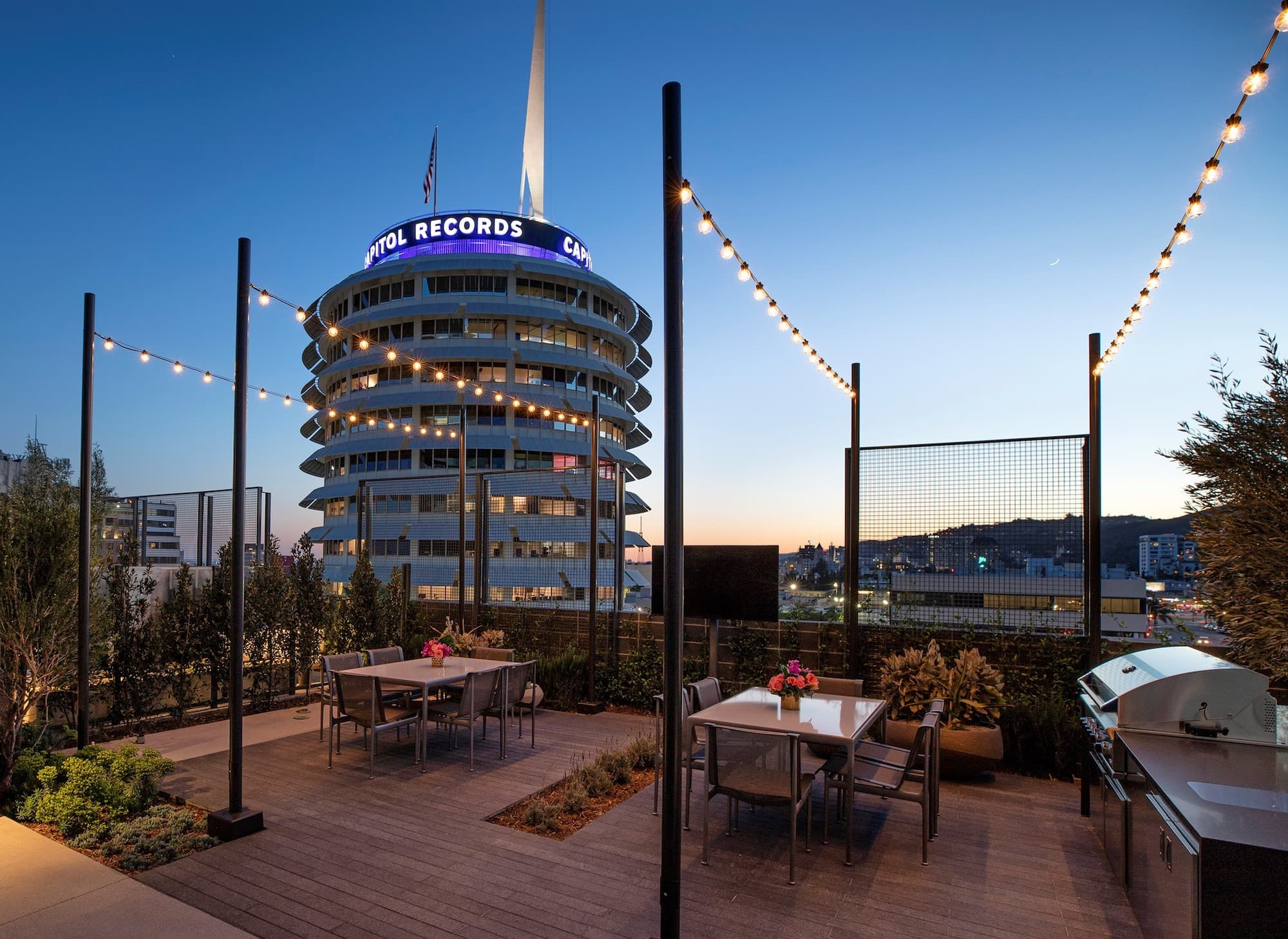 Argyle House Roof Top with view of Capitol Records Building
