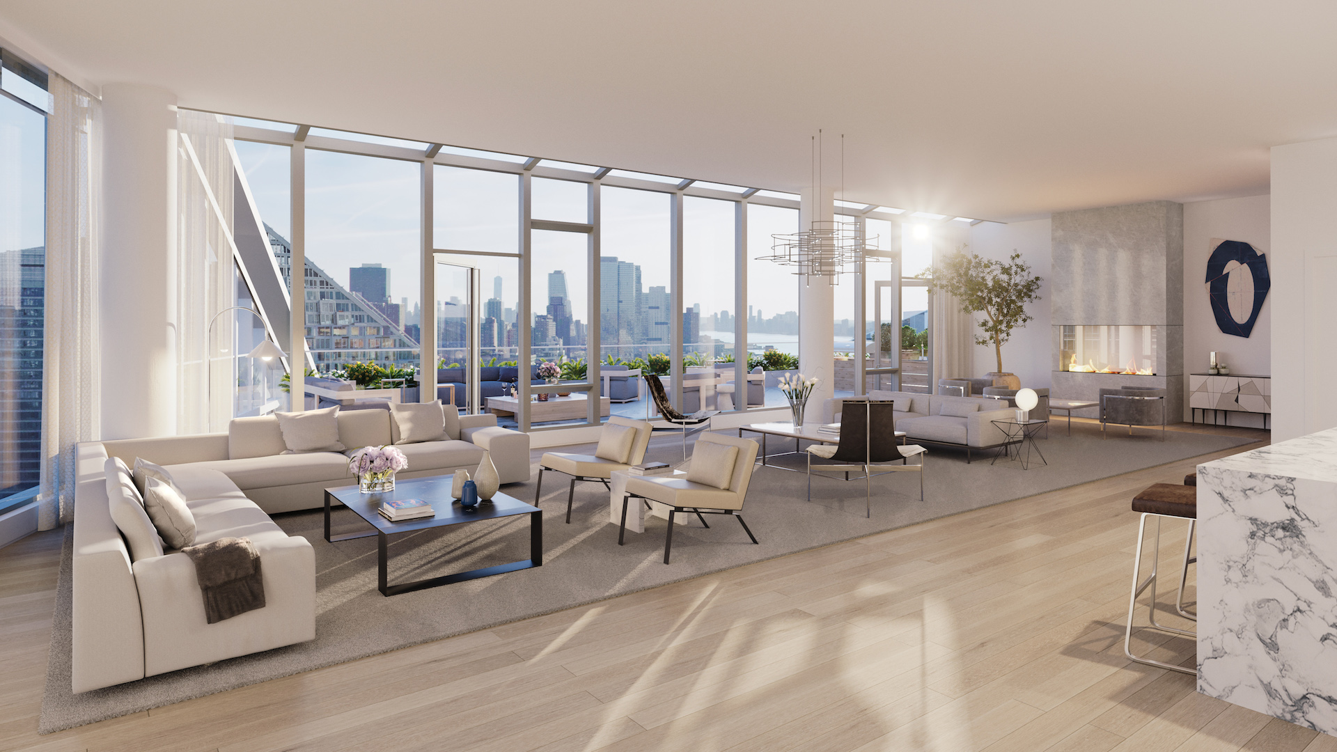 Waterline Square Penthouse in New York City Living Room