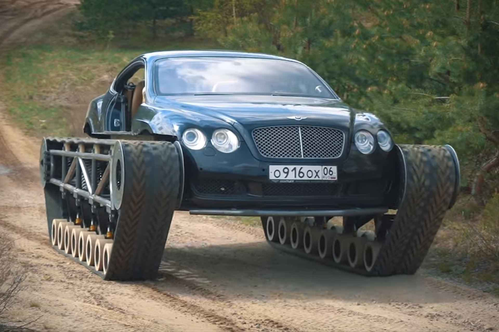 Ein Achtzylinder-Bentley auf Ketten: Youtuber baut Bentley Continental GT zum Panzer um 1
