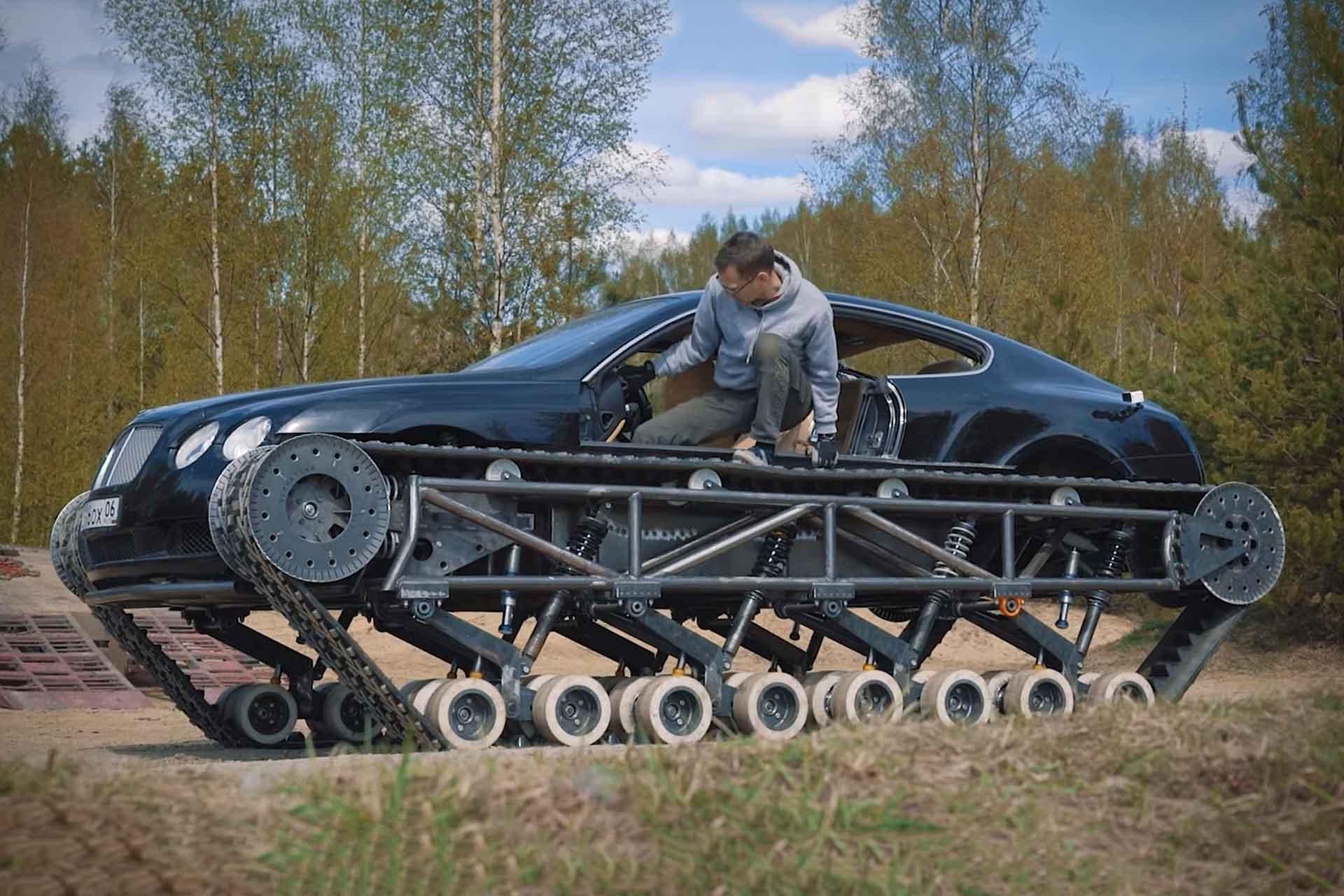 Ein Achtzylinder-Bentley auf Ketten: Youtuber baut Bentley Continental GT zum Panzer um 2