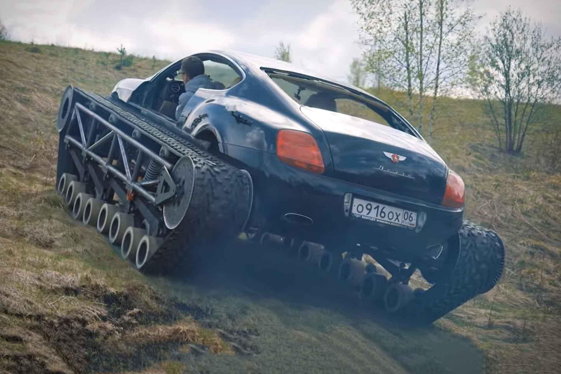 Ein Achtzylinder-Bentley auf Ketten: Youtuber baut Bentley Continental GT zum Panzer um 3