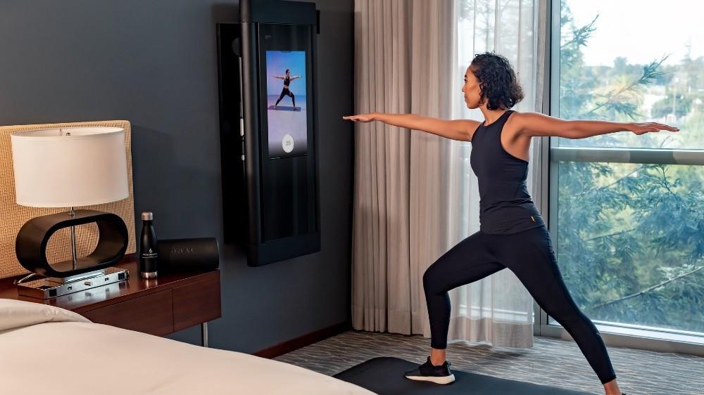 Dieses Hotel im Silicon Valley verfügt über High-Tech Mini Fitnessstudios in den Zimmern